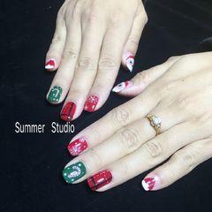 方圆形手绘红色绿色白色圣诞美甲图片