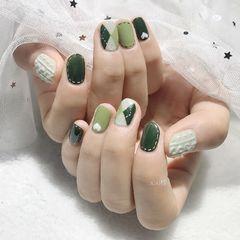 绿色方圆形格纹毛衣甲美甲图片