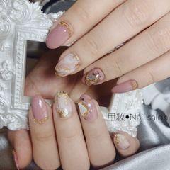 晕染新娘日式粉色美甲图片