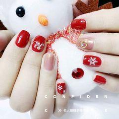 红色圆形日式手绘圣诞美甲图片