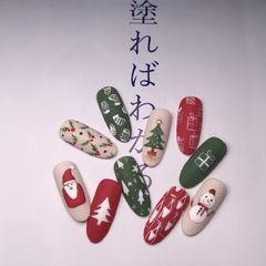 圆形红色绿色裸色手绘圣诞磨砂美甲图片