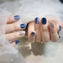 蓝色圆形猫眼水波纹银色竖形渐变美甲图片