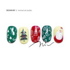 圆形红色绿色白色手绘圣诞可爱美甲图片