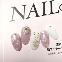 圆形粉色白色金属饰品雪花圣诞粉色圣诞🎄美甲图片