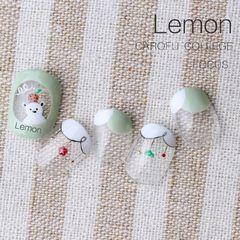 圆形日式手绘绿色白色法式可爱美甲图片