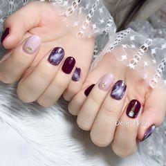 圆形日式紫色裸色美甲图片