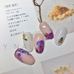 圆形晕染日式简约上班族金色手绘紫色金箔模仿丸山老师的款美甲图片