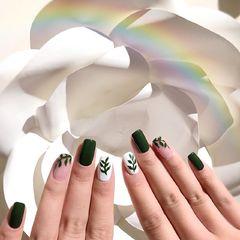 绿色方圆形简约日式上班族小清新美甲图片