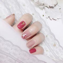 酒红色红色方圆形晕染金箔新娘日式贝壳片美甲图片