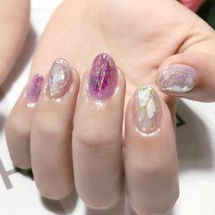 圆形晕染贝壳片简约日式紫色美甲图片