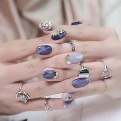 圆形猫眼日式紫色金属饰品美甲图片