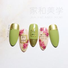 绿色红色尖形简约日式手绘金色魔镜粉贴纸美甲图片