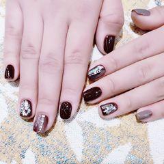 方形日式韩式红色黑色美甲图片