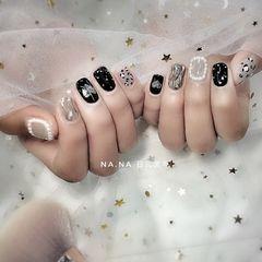 黑色灰色方圆形日式珍珠水波纹豹纹美甲图片