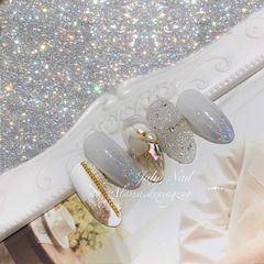 尖形金箔渐变贝壳片珍珠新娘Buling  Buling ✨婚甲美甲图片