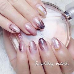 尖形晕染日式手绘气质粉紫美甲图片