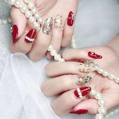 酒红色圆形金箔钻贝壳片日式珍珠新年新娘美甲图片