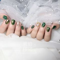 绿色方圆形日式手绘美甲图片
