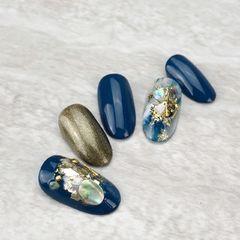 蓝色棕色圆形晕染金箔石纹裸色亮片贝壳系晕染美甲图片