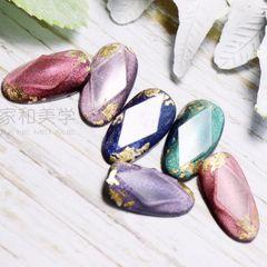 圆形简约日式宝石金箔金色粉色绿色美甲图片