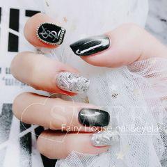 黑色猫眼钻手绘方圆形银色美甲图片