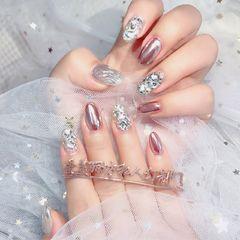 红色尖形法式新娘钻镜面#水波纹#爆钻#美甲图片