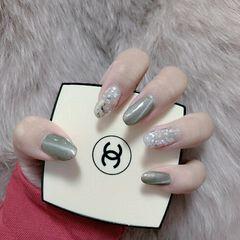灰色圆形晕染猫眼日式手绘贝壳片美甲图片