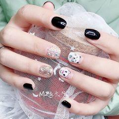 黑色手绘水波纹招财猫猪把客人喜欢的搭配起来美甲图片