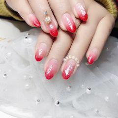 红色尖形渐变贝壳片钻新娘美甲图片