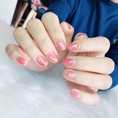 圆形猫眼日式粉色金属饰品上班族简约美甲图片