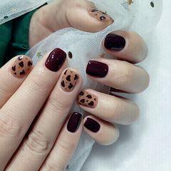 酒红色焦糖色方圆形豹纹美甲图片