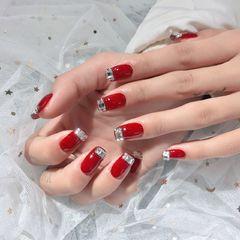 红色方圆形钻法式新年新娘显白美甲图片