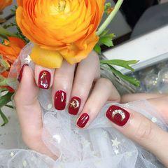 红色焦糖色酒红色方圆形新娘钻日式星月新年美甲图片