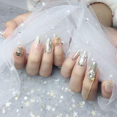 尖形钻水波纹金属饰品银色美甲图片