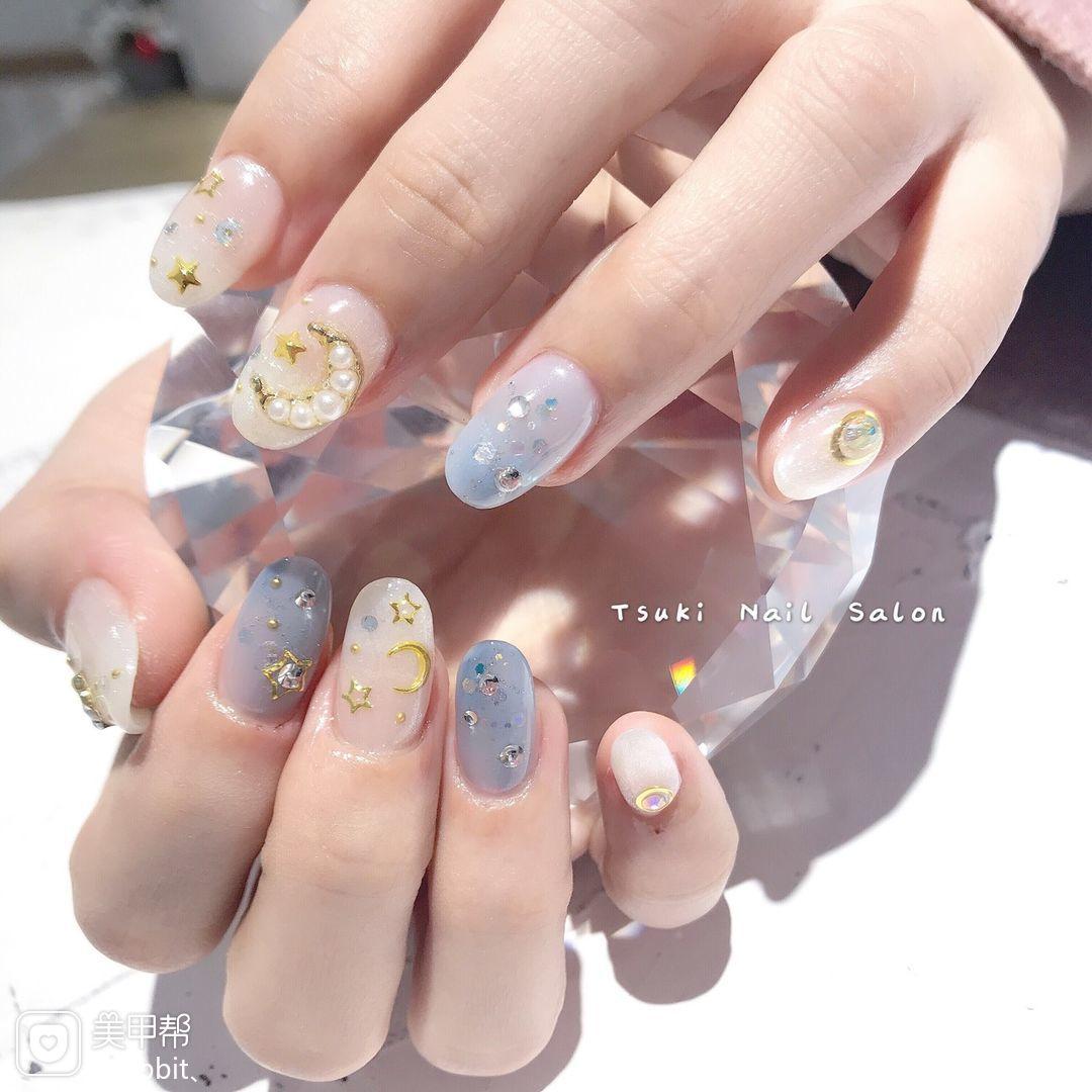 圆形日式白色蓝色星月金属饰品珍珠美甲图片