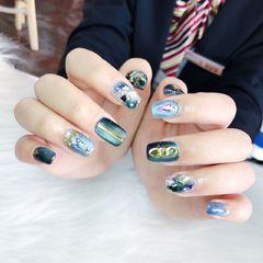 蓝色灰色方圆形贝壳片猫眼钻日式美甲图片