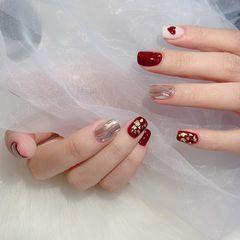 酒红色方圆形金箔手绘简约镜面粉美甲图片