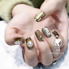 猫眼贝壳片金箔珍珠方圆形金色美甲图片