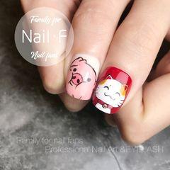 手绘招财猫红色方圆形粉色新年美甲图片