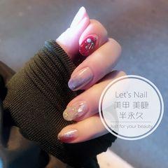 酒红色圆形金箔贝壳片日式美甲图片