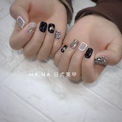 黑色灰色方圆形手绘豹纹珍珠金属钻饰水波纹美甲图片