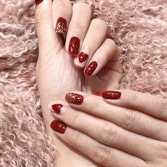 红色方圆形金箔手绘日式美甲图片
