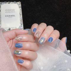 蓝色灰色猫眼日式贝壳片金箔镜面水波纹美甲图片