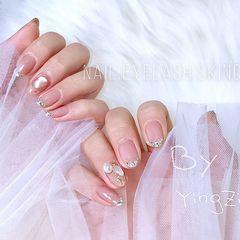 圆形钻法式银色今年爆款我们加了一点设计 美甲图片
