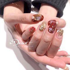 酒红色圆形日式新年贝壳片金箔金属饰品美甲图片