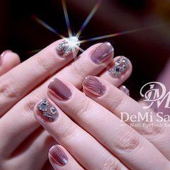 日式方圆形玫瑰金钻水波纹镜面超时尚亮肤粉魔镜美甲图片