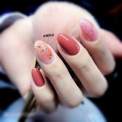 圆形手绘金箔粉色腮红甲美甲图片