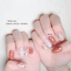 圆形法式日式手绘晕染美甲图片
