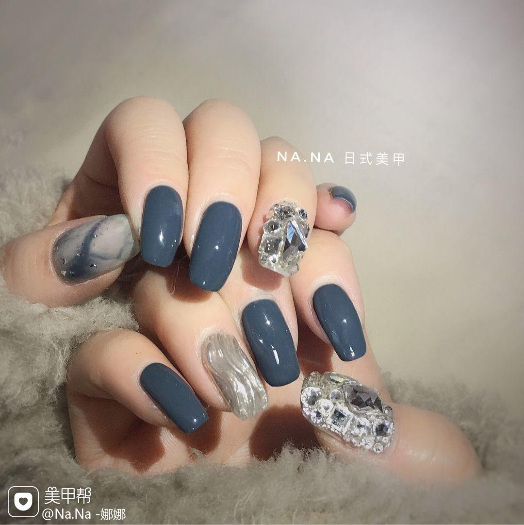 蓝色方圆形日式施华洛世奇++钻水波纹大理石纹美甲图片