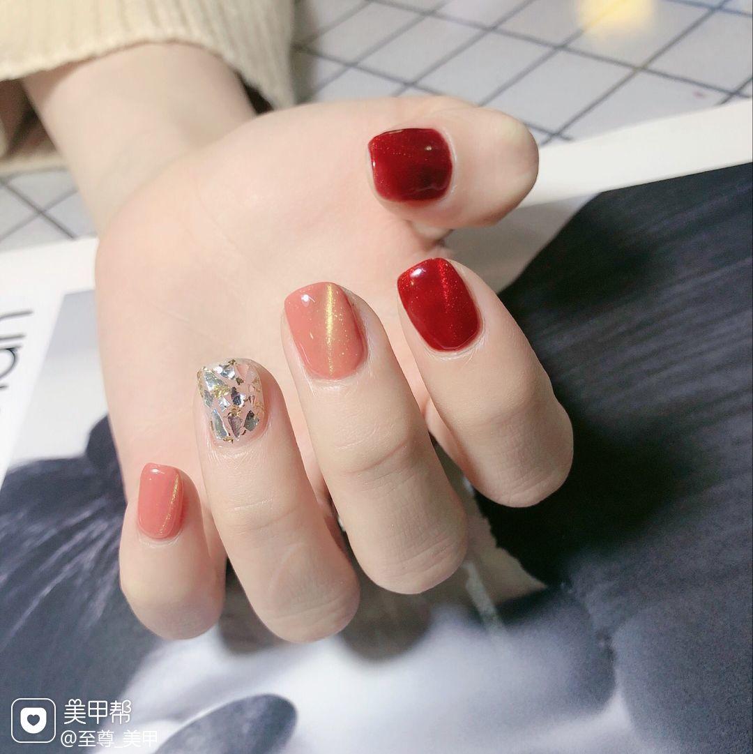红色方圆形猫眼南瓜色美甲图片